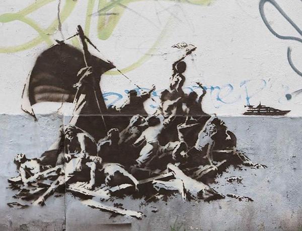 """Banksy na podstawie Theodore Gericault - """"Tratwa Meduzy""""."""